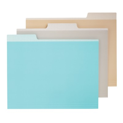 "6 File folders, Assorted Colors - Blue, Gray, Cappucino, 9.5""x11.5"" 24518"