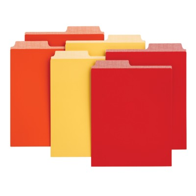"6 Vertical file folders, Assorted colors - orange, red, yellow, 9-1/8"" x 12"" 24520"