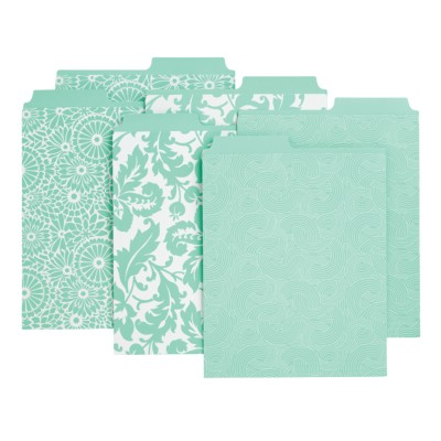 "6 Vertical File Folders, Assorted Patterns-Wave, Aster, Damask (Blue), 9-1/8""x12"" 24531"