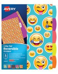 Avery Big Tab Reversible Fashion Dividers, Emojis, 24974