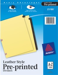 Copper Reinforced Black Leather Tab Dividers, A-Z