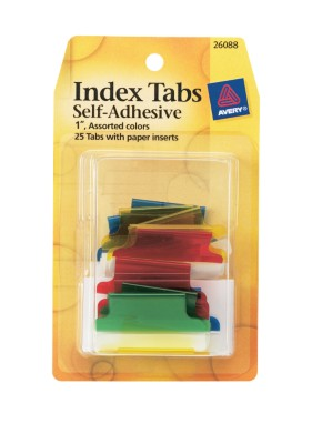 Index Tabs, Self Adhesive with Write-On Inserts 26088