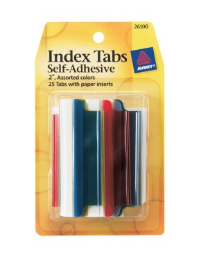 Index Tabs, Self Adhesive with Write-On Inserts 26100