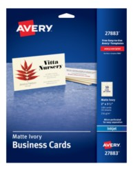 Avery Business Cards for Inkjet Printers 27883, Packaging Image
