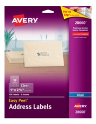 Avery® Easy Peel® Clear Address Labels for Inkjet Printers 28660, Packaging Image