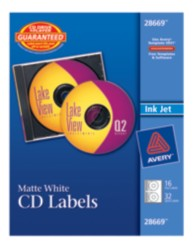 Avery® Print-to-the-Edge Matte White CD Labels for Inkjet Printers 28669, Packaging Image  Application Image