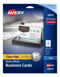 Avery® Two-Side Printable Clean Edge® Business Cards for Inkjet Printers 28878, Packaging Image