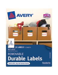 "Avery®Removable Durable Labels 40156, 2-1/2"" x 3-3/4"", Packaging Image"
