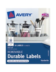 "Avery® Removable Durable Labels 40160, 1"" x 1-3/4"", Pack"