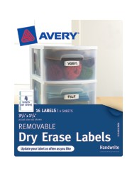 "Avery® Removable Dry Erase Labels 40163, 1-1/4"" x 3-1/2"", Packaging Image"