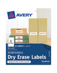 "Avery® Removable Dry Erase Labels 40164, 1-1/4"" x 3-1/2"", Packaging Image"