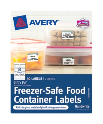 Avery® Freezer-Safe Food Container Labels, Eclectic Collection Small Rectangle, 8-up, 5 sh 40172