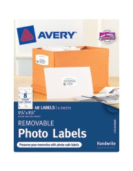 "Avery® Removable Photo Labels 40188, 1-1/4"" x 1-3/4"", Packaging Image"