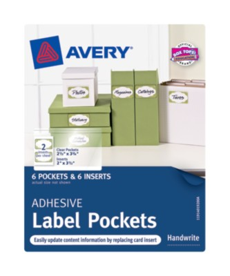 "Adhesive Pocket Label, Permanent, White, 2"" x 3.5"" 40192"
