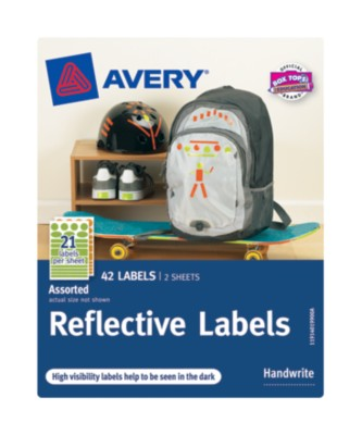 Avery® Reflective Labels, Assorted Shapes, 30-up, 2 sheets 40199