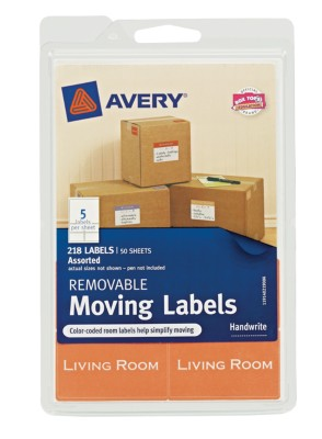 White Moving Labels, Assorted labels & dimensions, 50-Sheets, 219-Count 40219