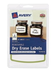 "Avery® Removable Dry Erase Labels 41451, Green Border, 3-3/4"" x 2-1/2"", Packaging Image"