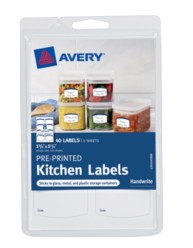 Avery® Pre-Printed Kitchen Labels 41452
