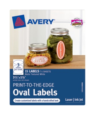 Matte Textured White Print-To-The-Edge Oval Labels, 3-Up 5 Sheets 41458