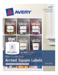Avery® Print-to-the-Edge Arched Square Labels 41459, Packaging Image