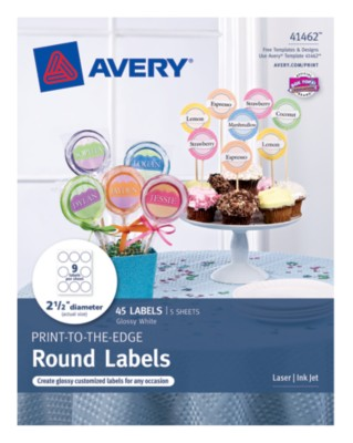 Glossy White PRINT-TO-THE-EDGE Round Labels, 9Up, 5 Sheets 41462