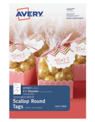 Avery® Textured White Scallop Round Tags 41557, Packaging Image