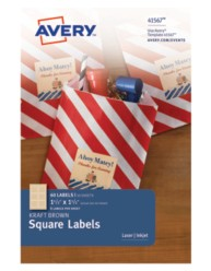 Avery® Kraft Brown Square Labels 41567, Packaging Images