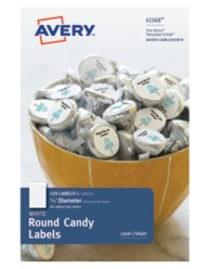 Avery® White Round Candy Labels 41568, Packaging Image