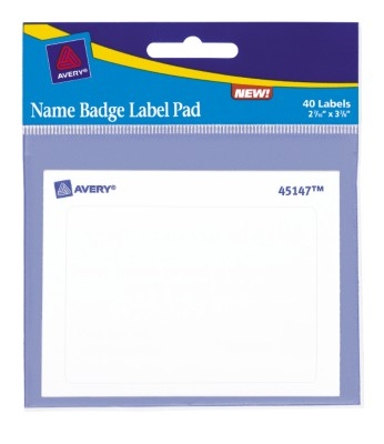 White Name Badge Pad 45147