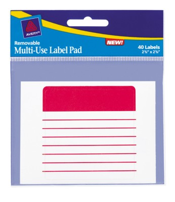 "Assorted Lined Multi-Use Label Pad, 2-5/8"" x 2-5/8"" 45274"