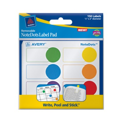 Removable NoteDots Label Pad, 6-Up Assorted Colors 45285