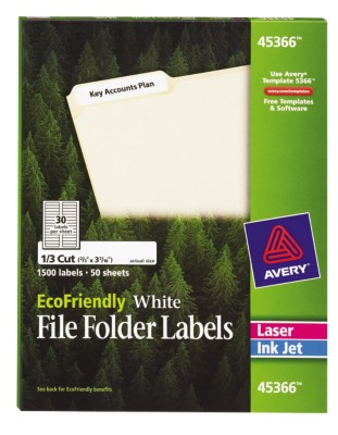 EcoFriendly White Permanent Filing Folder Labels 45366