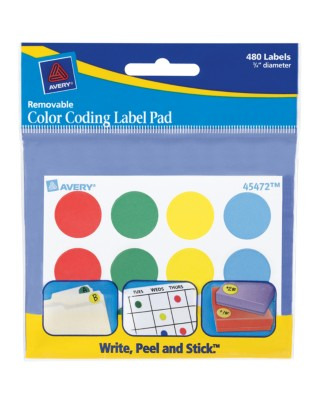 "Assorted Color Coding Classic Label Pad, 3/4"" - 480 count 45472"