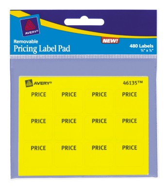 "Yellow Price Label Pad, 3/4"" X 7/8"" 46135"