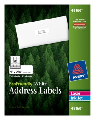 EcoFriendly White Address Labels 48160