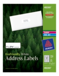 "Avery® EcoFriendly White Address Labels 48260, 1"" x 2-5/8"", Box of 750"