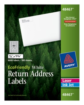 EcoFriendly White Return Address Labels 48467