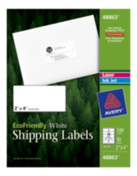 Avery ecofriendly shipping labels for Avery template 48863