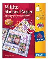 Avery White Sticker Paper 53202 Packaging Image