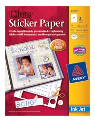 Avery Clear Sticker Paper 53203 Packaging Image