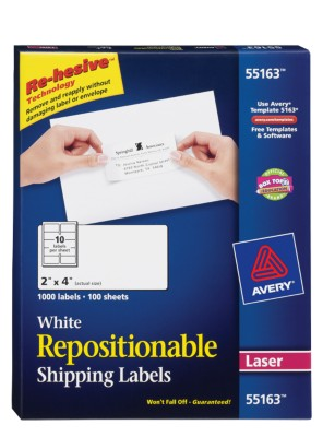 Repositionable White Shipping Labels, Laser, 10 Labels per Sheet, 100 Sheets 55163