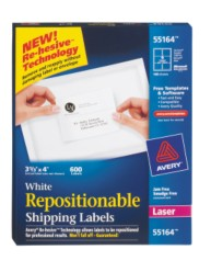 White Repositionable Shipping Labels for Laser Printers 55164