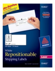 Avery® White Repositionable Shipping Labels for Laser Printers 55463, Packaging Image