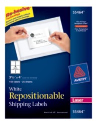 Avery® White Repositionable Shipping Labels for Laser Printers 55464, Packaging Image