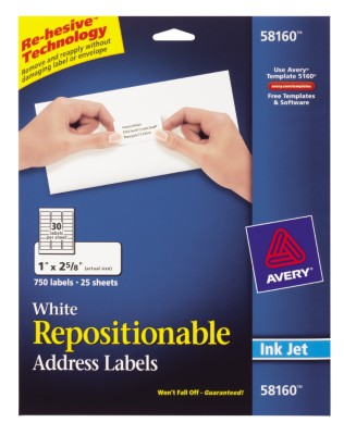 Repositionable White Shipping Labels, Ink Jet, 30 Labels per Sheet, 25 Sheets 58160