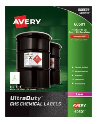 "60501 UltraDuty GHS Chemical Labels Packaging 8-1/2"" x 11"""