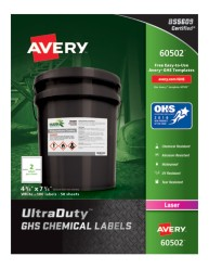 Avery Award-Winning GHS UltraDuty Chemical Labels 60502