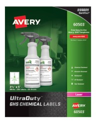 60503 Avery UltraDuty™ GHS Chemical Labels for Laser Printers, packaging