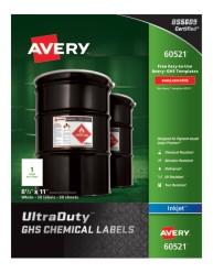 "Avery® UltraDuty™ GHS Chemical Labels for Pigment-Based Inkjet Printers, 60521, Waterproof, UV Resistant, 8-1/2"" x 11"", 50 Pack, packaging"