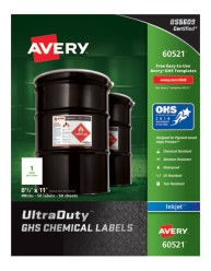 Avery Award-Winning GHS UltraDuty Chemical Labels 60521